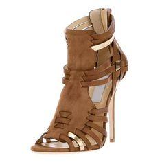 Shoespie Brown Braided Heel Sandals