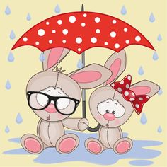 Cute animals and umbrella cartoon vector 03