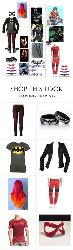 """flame, nightwing, and red robin"" by ironkyle ❤ liked on Polyvore featuring Pepe Jeans London, NIKE, Balenciaga, Masquerade, Robin's Jean and Marvel Comics"