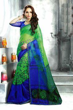 Green & Blue Super Net Saree with Unstitch Blouse