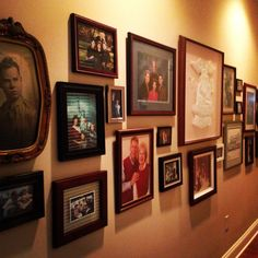 Picture wall with mismatched frames.