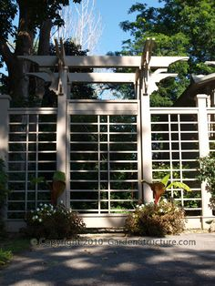 wood arbors with gates: see through fencing; but with lower fence
