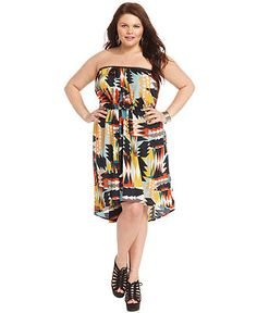 Trixxi Plus Size Dress, Strapless Printed High-Low - Plus Size Dresses - Plus Sizes - Macy's  PERFECT FOR ALL 4 BODY SHAPES!