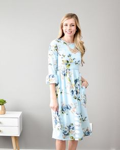"""Never underestimate the power of a good dress.  A little about this dress: Jane Floral Bell Sleeve Dress Price: $36 Size: S-XL  To Purchase: Click the link in our bio click on the 3 lines at the top and go to """"Dresses""""  Free Shipping Always Hannah is 5'8 and wearing a small"""