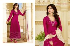Look ethnic in this sort of a affluent hot pink tasar silk plazzo salwar suit. The ethnic embroidered and lace work within the apparel adds a sign of attractiveness statement with your look. Comes with matching bottom and dupatta. (slight variation in color, fabric & work is possible. Model images are only representative.) http://www.divineboutique.in/home/2073-fascinating-hot-pink-tasar-silk-designer-palazzo-salwar-suit-1111.html #SalwarSuits #SalwarSuitsOnlineShopping #BuySalwarSuitsOnline