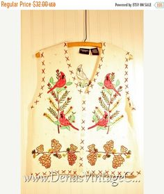 50% OFF Labor Day Sale Ugly Christmas Sweater Vest Ivory with Christmas Trees Red Birds Pine cones Berries Tacky Sweater PL
