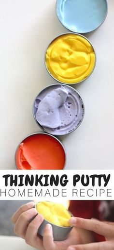 Make Your Own Homemade Fidget Putty Recipe for Less! is part of Fun Kids Crafts Homemade - We show you how to make homemade fidget putty recipe for less! 3 ingredients and we take our classic slime recipe and turn it into homemade putty for kids Homemade Putty, Homemade Slime, Homemade Fidget Toys, Diy Fidget Toys, Homemade Paint, How To Make Putty, Silly Putty Recipe, Diy Silly Putty, Putty And Slime
