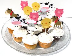 12 Cute Farm Animal Themed Cupcake Toppers by ScrapsToRemember, $12.00
