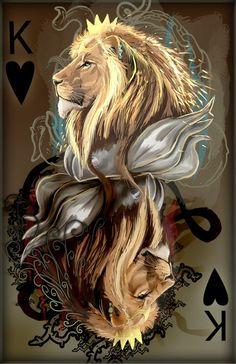 king of hearts by Decadia on deviantART Fantasy Kunst, Fantasy Art, Lion Wallpaper, Lion Of Judah, Lion Art, Lion Tattoo, Big Cats, Black Art, Illustration