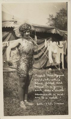 Miss Mayme Ward (of the famous Flying Wards (AKA The Ward Flyers).  Best known for her catch & releases done while blindfolded.
