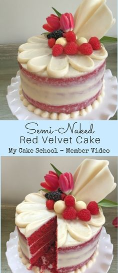 Semi-Naked Red Velvet Cake Tutorial by MyCakeSchool.com