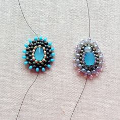 DIY make Miguel Ases style beaded components. Another basic skills - brick stitch around a bead, this time, not round.  #Seed #Bead #Tutorials