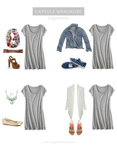 I like all these outfits...I'd wear them!! Capsule Wardrobe | T-shirt Dress