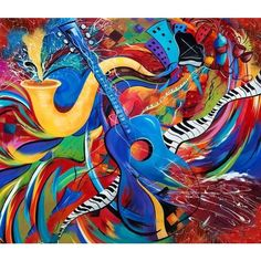 Wild Music Night Life Guitar Jazz Music Print ❤ liked on Polyvore featuring art