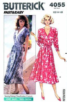1980s Butterick 4055 Womens Flared Wrap Dress by patternshop, $7.99
