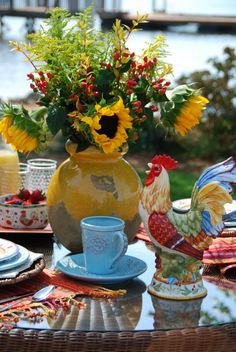 French Country Table Setting with Rooster.