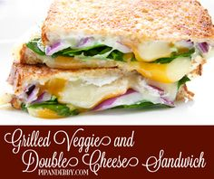Grilled Veggie and DOUBLE Cheese Sandwich! Super gooey, cheesy and yummy.