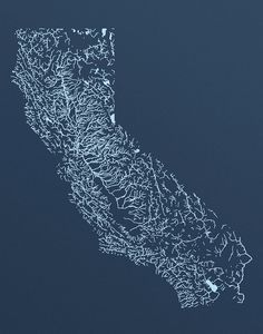 A screen print of the lakes and rivers of California. From the Klamath River to…