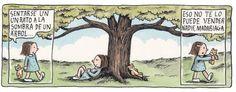 recostarse a la sombra de un árbol