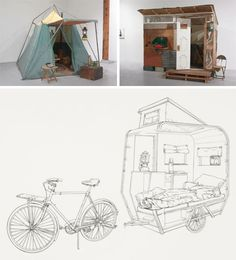 tiny emergency shelter art  http://dornob.com/solo-shelter-showcase-new-small-space-living-exhibition/?ref=search#