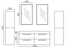 dimensions meuble double vasque ortense - Dimension Meuble Double Vasque