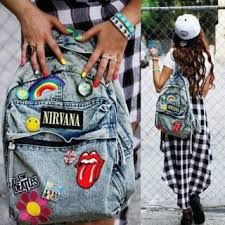 bag backpack denim nirvana hipster patches blue denim bag tie-dye backpack with patches of bands denim bookbags Grunge Outfits, Grunge Fashion, Diy Fashion, Street Fashion, Fashion Ideas, Fashion Hats, Fashion Outfits, Fashion Shoot, Urban Fashion