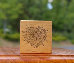 Lace Heart Flowers Rose Ribbons Wood Mounted Rubber Stamp 1988 by PSX  E-831  | eBay