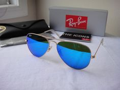 840db47ad0 fashion   Authentic Ray-Ban Sunglasses Aviator RB3025 112 17 Gold Frame Blue