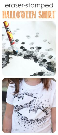 Eraser-Stamped Halloween Shirt craft - Made with Freezer Paper and a pencil eraser!