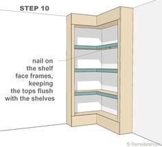 step 10 - corner bult-in bookshelves Diy Home Office Furniture, Bedroom Furniture Redo, Furniture Plans, Kitchen Furniture, Furniture Movers, Woodworking Furniture, Plywood Furniture, Pallet Furniture, Floor To Ceiling Bookshelves