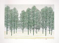 "Tree Scene 117 with silver  No. 40/200 by Hajime Namiki 18 1/4"" x 13 3/4"" 2004"