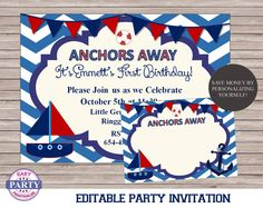 Ahoy Nautical Party Invitation DIY Editable by EasyPartyPrintables