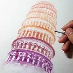 The Leaning Tower Of Pisa  Beautiful Watercolour Piece by: @kingofsloth ✨ - Follow my tattoo page for daily pictures of tattoos: @inkspiringtattoos