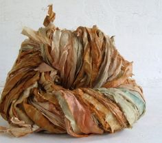 Hand Dyed Recycled Sari Silk Ribbon  Desert Fades 10 yds by spinup, $5.60