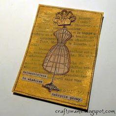100% handmade: ATC z koroną i kartka z własnoręcznie robionym kwiatem...