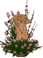 Send Online Pink Rose Basket With Teddy To Your Friends Birthday In Bangalore Same Day Gifts Delivery All Location