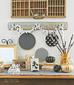 Black, White & Gold Halloween Vignette | My Fabuless Life