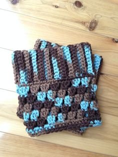 Custom Crochet Boot Cuffs - Color: Brown and Aqua on Etsy, $12.00