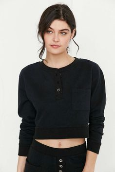 CXM Cropped Henley Sweatshirt - Urban Outfitters