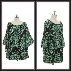 Classy Damask Bell Sleeve Top/ Curvy – The Purple Paisley Boutique