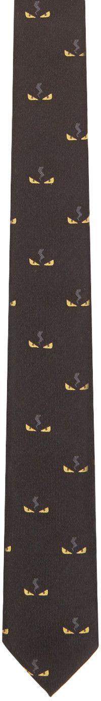 Fendi - Black Monster Eyes Print Tie