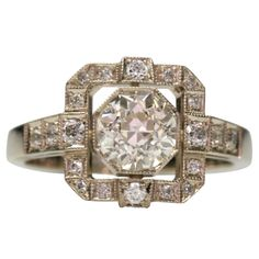 Old European Cut Diamond Engagement Ring | From a unique collection of vintage engagement rings at http://www.1stdibs.com/jewelry/rings/engagement-rings/