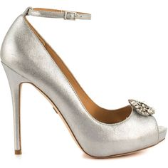 Badgley Mischka Women's Finley II - Silver ($215) ❤ liked on Polyvore featuring shoes, pumps, heels, silver, silver shoes, peep-toe pumps, silver pumps, high heel pumps and silver ankle strap pumps