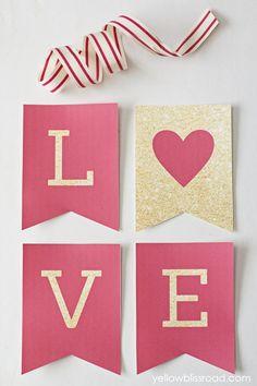 LOVE Valentine Banner free printable