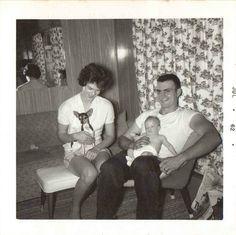 Old Vintage Photograph Mom, Dad, Baby, Chihuahua Retro Livingroom Decor 1962