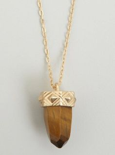 gold chain and brown crystal pendant necklace