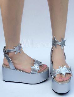 712c7da605b9 Sweet Lolita Shoes Silver Stars Platform Wedge Lolita Sandals  Shoes