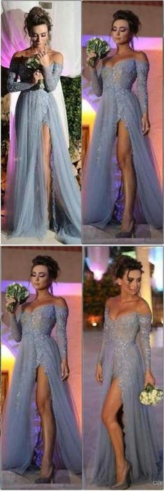 Long Sleeves Prom Dresses,Tulle Prom Dress, A Line Prom Dresses, Sexy Evening Dresses,2017 Prom Dresses