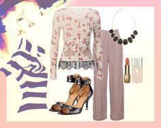Casual Fridays - Printed knit cardigan with lace trimming paired with pastel comfy pants #TheClosetLabel #3OtherThings
