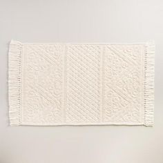 One of my favorite discoveries at WorldMarket.com: Ivory Camilla Woven Bath Mat with Tassels